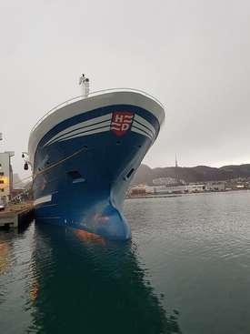 MS «Kvannøy» er 80 meter lang og 15,5 meter bred. Foto: Bjørnar Blaalid