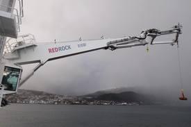 Den nye 3D kompenserende kranen fra Red Rock Marine. Foto: Red Rock Marine