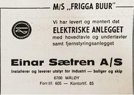 Gratulasjonsannonse i Skipsrevyen 1/1971.