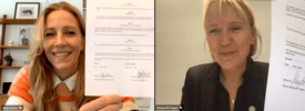 Nina Jensen og Margareth Hagen under signeringen. Screenshot av signering: Foto: UiB/REV Ocean