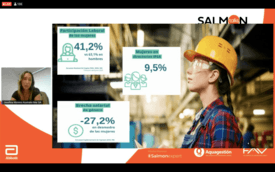 Josefina Moreno en su participación entregando algunas cifras que ilustran la brecha laboral femenina. Click para agrandar la imagen.