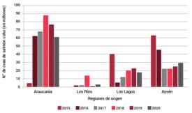 Envío regional de ovas de salmón coho. Fuente: SIFA 2021/Sernapesca.
