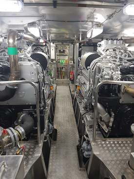 Maskinrommet på RS «Hans Herman Horn». Foto: Bjørnar Blaalid