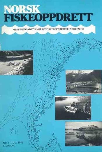 Slik så forsiden ut på Norsk Fiskeoppdrett sin første utgave i juli 1976