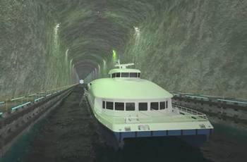 Stad skipstunnel kommer til å bli en attraksjon for reisende med båt, mener styringsgruppen for prosjektet. Illustrasjon