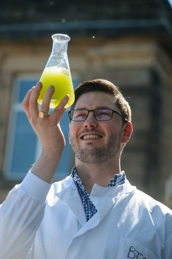 Douglas Martin with the algae he intends to grow in fermentation vessels attached to Scottish distilleries.