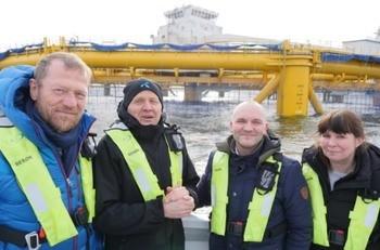 Telenor satser tungt på Smart havbruk. Fra venstre: Ove Fredeheim, leder for Telenors bedriftsdivisjon, konsernsjef Sigve Brekke, Rune Wilhelmsen og regiondirektør for Midt-Norge Berit Evjen.
