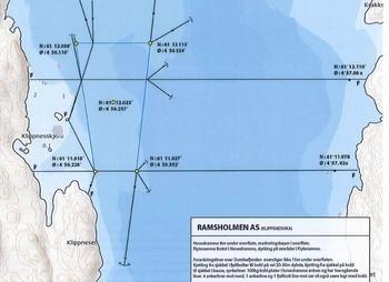 Kart over Klippenesvika lokaliteten der Ramsholmen As vil etablera taredrift. Klikk for større bilete. Illustrasjon: Norgesatlas.