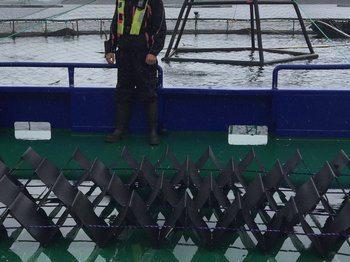 På en Marine Harvest lokalitet i Kvinnherad kommune har pilotskjulet blitt testet. Her ser du det på dekk på en av båtene til MH. Siden pilottestene ble gjort,  har selskapet re-designet og optimalisert skjulet som nå settet i produksjon. Foto: Estro AS.