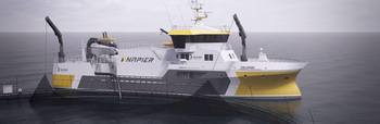 Prosessbåten Taupuri er eid av Amar Group og er nå under bygging. Den skal få en kapasitet på 300 tonn fisk og vil bli ferdig våren 2019. Illustrasjon: Napier.