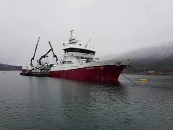 Brønnbåten Novatrans tok seg av transporten av storsmolten på 840 gram levert til Eidsfjord Sjøfarm. Her ser du lasting hos Sisomar. Foto: Sisomar.