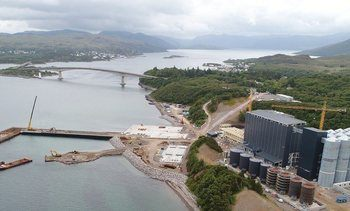 The Kyleakin plant pictured during construction late last year. Click on image to enlarge. Photo: Mowi.