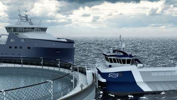 Slik ser Øymerd-konseptet til Astafjord Ocean Salmon AS ut. Bak selskapet står oppdretterne Kleiva Fiskefarm og Gratanglaks. Foto. Astafjord Ocean Salmon AS
