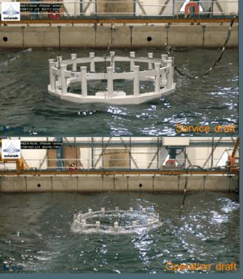 Modelltest av Arctic Offshore Farming på servicedypgang (øverst) og operasjonsdypgang (nederst). Foto: NRS/Aker Solution.