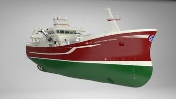 Byggenummer 452 får navnet «VILHELM ÞORSTEINSSON» og eies av Samherji Island. Foto: Karstensens Shipyard