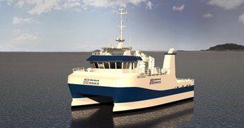 Illustrasjon av servicefartøyet: Marin Design.