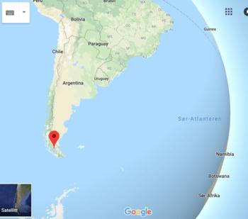 Det er langt i fra Namsos til Royal Albert Hall, men enda lengre til Punta Arenas i Chile. Kart: Google maps.