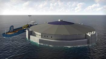 Illustrasjon av konseptet AquaSemi. Klikk for større bilde. Kilde: Måsøval Fiskeoppdrett.