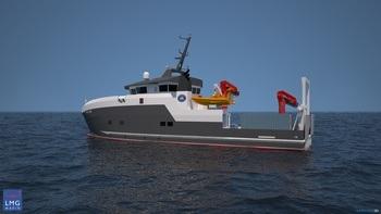 Det nye fartøyet vil bli rundt 35 meter langt, skal være innenfor 500 bruttotonn Illustrasjon: LMG Marin
