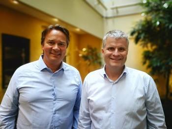 Arne Lie Gundersen og med-grunder Rune Volden i SHM Enabling Technologies. Foto: Privat