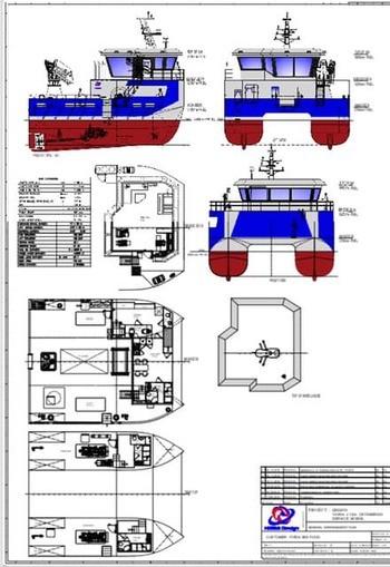 Illustrasjons-skisse av det nye servicefartøyetFirda Seafood Group.  har bestil av Norse Shipbuilding.