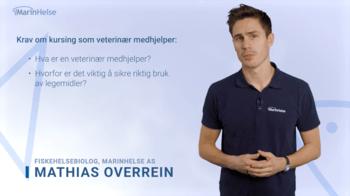 Skjermdump av et av nettkursene, der fiskehelsebiolog Mathias Overrein går gjennom de ulike punktene steg for steg. Klikk for større bilde.