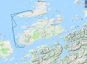Her kan man se «Taupo» sin ferd fra lokaliteten Singsholmen til SalMar-slakteriet Innovamar. Skjermdump fra Marine Traffic.
