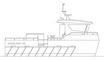 Vaagland Mek Verksted AS skal levere en ny arbeidsbåt til Hellesund Fiskeoppdrett på Sørlandet, av modellen Vaagland 799. Klikk for større bilde. Foto: VMV.