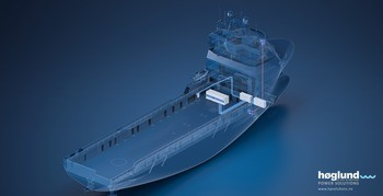 Illustrasjonen viser  en containerisert batteripakke til offshore service fartøy. Illustrasjon: Høglund Power Solutions