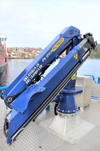 Kranen ombord er av typen Palfinger som har en løftekapasitet på inntil 7,5 tonnmeter. Foto: Moen Marin.