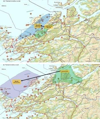 Figur 3: Barnehage-prinsippet: Smolt settes ut i et mest mulig skjermet fjordsystem og flyttes til mer eksponerte påvekstlokaliteter (med større MTB) 6-9 måneder etter utsett.