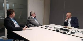 Nagelld møter Shane Wall, CTO for HP Inc og direktør for HP Labs. F. v.: Bjørnar Johansen, Helge Bjordal og Shane Wall. Foto: HP Norge