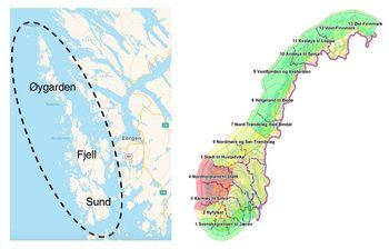 Figuren viser Sund, Fjell og Øygarden ligg midt i produksjonsområde 3 og 4; begge med  raudt lys i trafikklyssystemet som styrer veksten i norsk lakseoppdrett. Ilustrasjon: Gode Sirkler