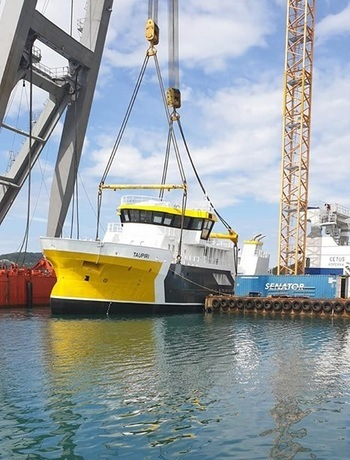 «Taupiri» ble i dag sjøsatt ved Fitjar Mekaniske Verksted. Foto: Napier