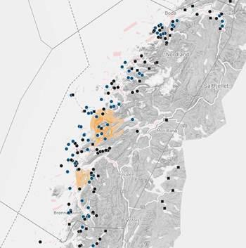Det er 10 uker siden sist en lokalitet i produksjonsområde 8 (Nordland sør for Bodø) var over lusegrensen. Skjermdump: Barentswatch