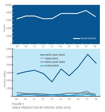 Graphs showing the production trends of mussels and other shellfish over 10 years. Click on image to enlarge. Illustration: Marine Scotland Science.