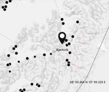 Det er på lokaliteten Bjørkvik Ellingsen Seafood tapte 188 000 nyutsatt smolt. Skjermdump: BarentsWatch.