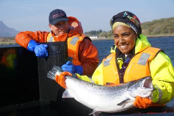 Gilpin Bradley with Nadiya Hussain in July. Photo: BBC / Wester Ross.