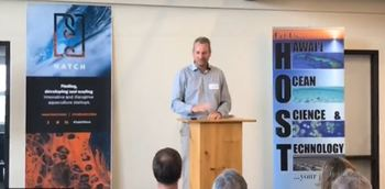 Former AKVA Scotland boss Jason Cleaversmith introduces GenetiRate in Hawaii yesterday. Video image: Hatch.