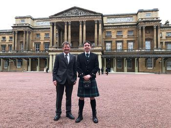 Dr Jeff Lines and Mike Forbes at Buckingham Palace in June. Click on image to enlarge. Photo: Ace Aquatec.