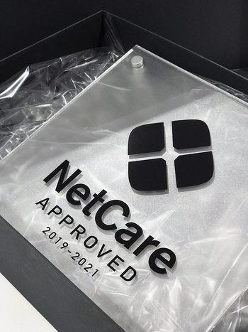 Et håndfast bevis på NetCare godkjenning av servicestasjon.  Foto: Thale Steen-Hansen, NetCare
