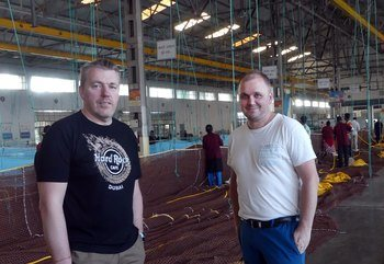 Steinar Hansen, left, and Torstein Solberg of Selstad oversee the production of the first net for the Havfarm at Garware Technical Fibres in India. Click on image to enlarge. Photo: Pål Mugaas Jensen /Kyst.no.