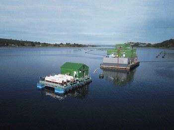 Sistema de Gasco implementado en centro de cultivo de Salmones Aysén. Foto: Gasco.