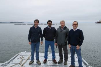 From left: Julio Muñoz, administration and finance manager at Walbusch; Jorge Aguilera, fleet business manager; Walter Buschmann, general manager of the Walbusch group of companies, and Claudio Pavez. Click on image to enlarge. Photo: Karla Faundez / Salmonexpert.