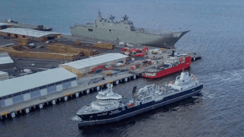 The Ronja Storm arriving in Tasmania. The vessel was delivered to Sølvtrans seven months late. Click on image to enlarge. Photo: Huon Aquaculture.