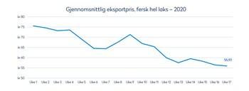 Gjennomsnittlig eksportpris for fersk hel laks. Tabell: Norges Sjømatråd