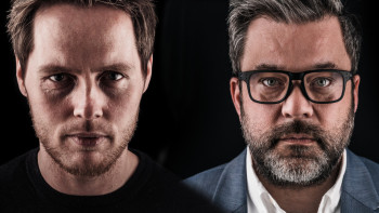Ove Kvalsvik t.v og Caspar Macody Lund t.h har startet selskapet Vekstlandet og har ambisjoner om å bidra til å løse vekstutfordringene til oppdrettsnæringen på Vestlandet. Klikk for større bilde. Foto: Vekstlandet.