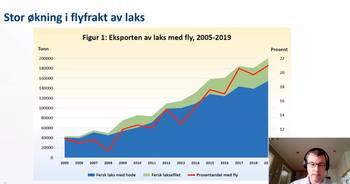Utviklingen av både andel og volum av flyfraktet laks har økt betydelig siden 2005. Kilde: Morten Heide, Nofima. Klikk for større.