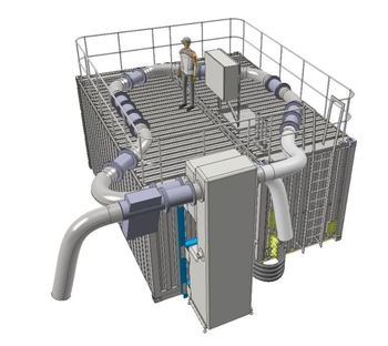 An illustration of the combination delousing system fitted into two containers. Click on image to enlarge. Graphic: Ace Aquatec website.