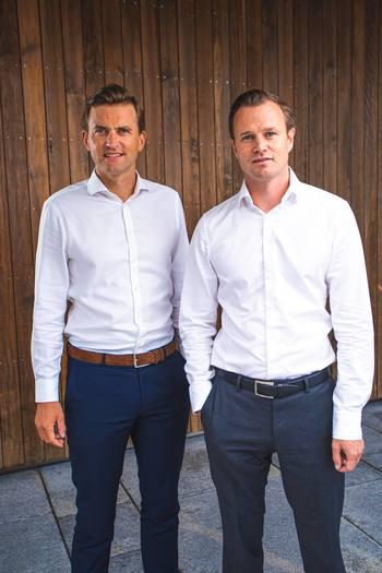 Bluefront Equity partners Kjetil Haga, left, and Simen Landmark. Click on image to enlarge. Photo: Thomas P Christensen.